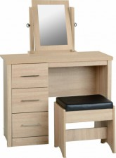 Sonoma light oak effect dressing table set inc stool & mirror