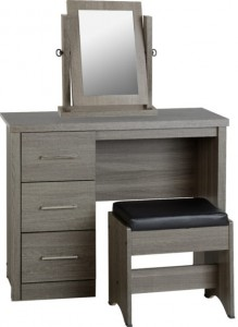 Sonoma dark grey dressing table set inc stool & mirror