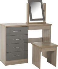 Neptune grey gloss dressing table, stool & mirror