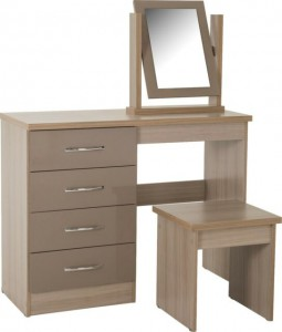 Neptune oyster gloss dressing table, stool & mirror