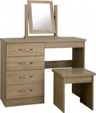 Neptune light oak dressing table, stool and mirror