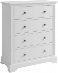 Antique white 2 over 3 chest of drawers