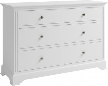 Antique white 6 drawer chest of drawers