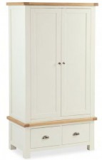 New England cream and oak 2 door gents wardrobe