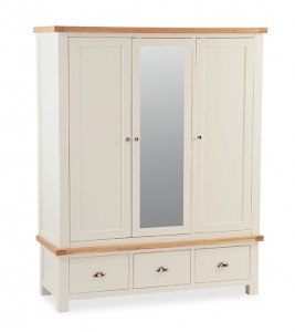 New England cream and oak 3 door triple wardrobe