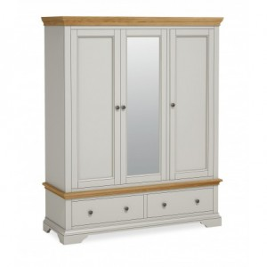 Chester grey and oak 3 door triple wardrobe