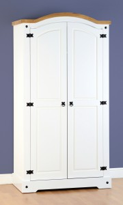 White Corona Mexican pine 2 door wardrobe
