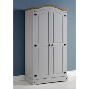 Grey Corona Mexican pine 2 door wardrobe