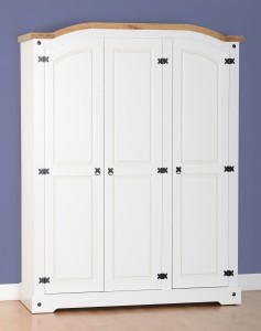 White Corona Mexican pine 3 door wardrobe