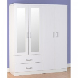 The Carlos white 4 door wardrobe