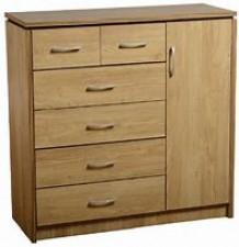 Carlos oak effect 1 door wardrobe 6 drawer chest