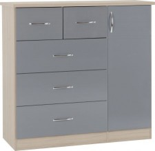 Neptune grey gloss chest of drawers wardrobe