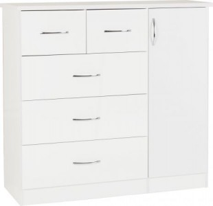 Neptune white gloss chest and wardrobe