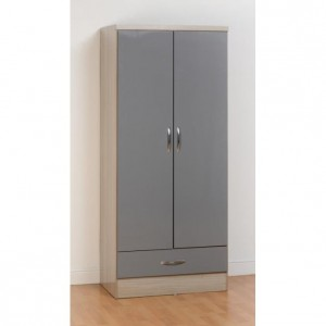 Neptune grey gloss 2 door 1 drawer wardrobe