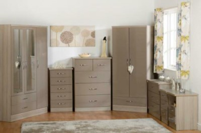 Neptune oyster gloss 2 door 1 drawer wardrobe