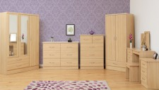 Neptune light oak gloss 2 door 1 drawer wardrobe