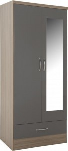 Neptune grey gloss 2 door 1 drawer wardrobe with mirror