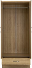 Neptune Light oak 2 door 1 drawer wardrobe with mirror