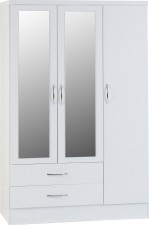 Neptune white gloss 3 door 2 drawer mirrored wardrobe
