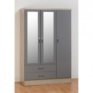 Neptune grey gloss 3 door 2 drawer mirrored wardrobe