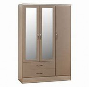 Neptune oyster gloss 3 door 2 drawer mirrored wardrobe