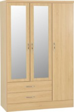 Neptune light oak 3 door 2 drawer mirrored wardrobe