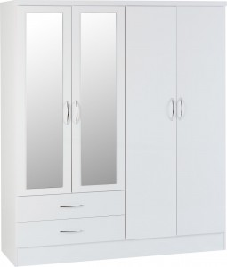 Neptune White gloss 4 door 2 drawer mirrored wardrobe
