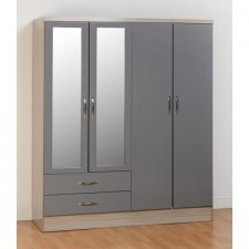 Neptune grey gloss 4 door 2 drawer mirrored wardrobe