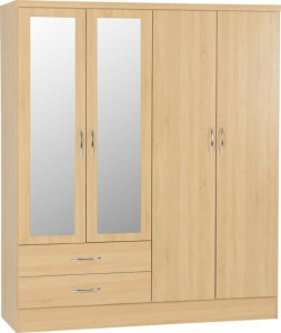 Neptune light oak 4 door 2 drawer mirrored wardrobe