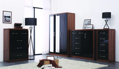 Conrad black gloss 3 door wardrobe