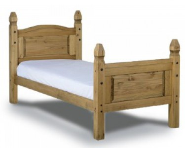 Corona Mexican pine solid single bed high foot
