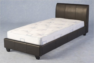 Black or brown faux leather single bed