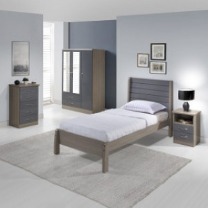 Neptune grey gloss and oak effect single bed