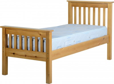 Neptune antique pine high foot single bed
