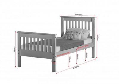 Neptune grey high foot single bed