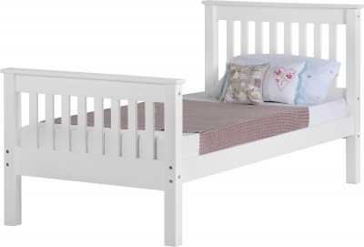 Neptune white high foot single bed