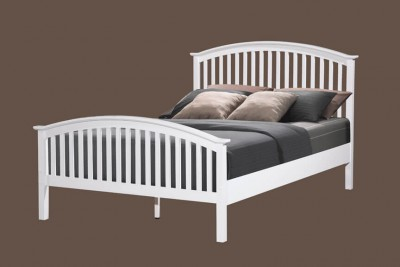 White oak or cream arched wooden slatted single bed