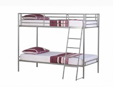 Brandon white silver or black metal bunk beds