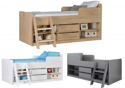 Felix low sleeper bed in grey white or oak effect