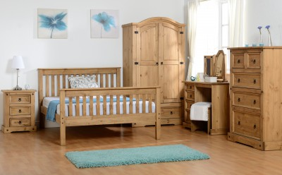 Neptune distressed waxed pine high foot 4ft6 double bed