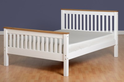 Neptune white with distressed waxed pine high foot 4ft6 double bed