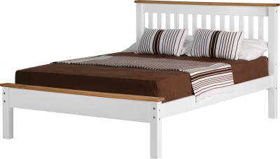 Neptune white with distressed waxed pine low foot 4ft6 double bed