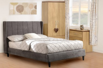 Dark grey fabric winged double bed