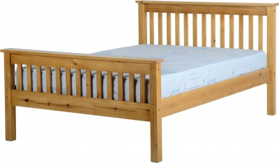 Neptune 5ft king size high foot waxed pine bed
