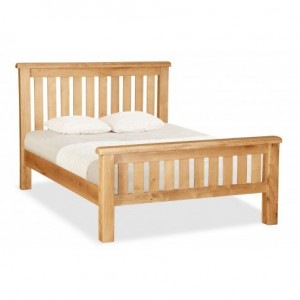 Erne slatted Solid Oak 5ft king size bed