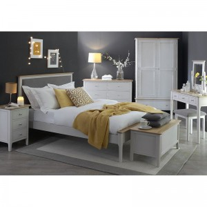Scandinavian grey and oak 5ft king size bed