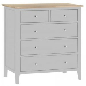 Scandinavian grey and oak 2 over 3 drawer chest of drawers