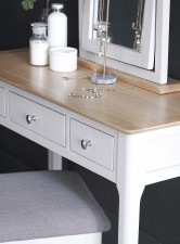 Scandinavian grey and oak dressing table stool