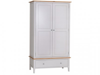 Scandinavian oak and grey 2 door 1 drawer wardrobe
