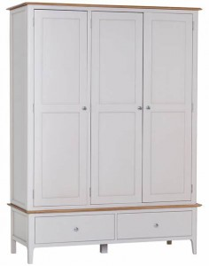 Scandinavian oak and grey 3 door 2 drawer wardrobe